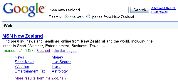 What happens when you search msn.co.nz on Google.co.nz